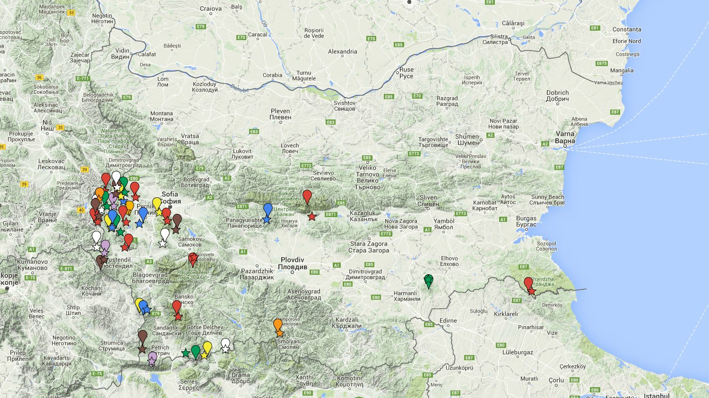 Най-високите върхове на планините в България - карта